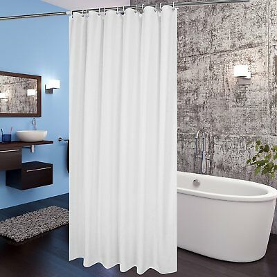 """White Fabric Shower Curtain Liner 72""""x78"""" Extra Long w/ Hooks Mildew Resistant"""