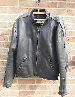 Mens black leather motor bike jacket size 48