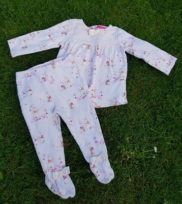 Ted Baker Baby Girls Pink Glitter Detail Bunny Top + Pants Set Outfit 6-9 Months