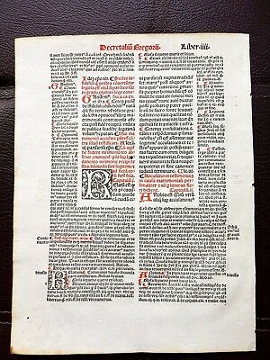 Antique Medieval Incunable Leaf Hand-Colored Letters around 1500