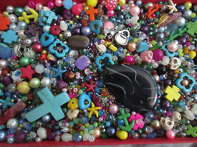 TWO LBS Bag Lot of Mixed Assorted Glass Beads/crystal/CROSS beads/seed beads+