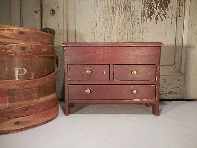 AAFA Miniature Lift Top Chest Original Red Paint Stain Mixed Woods Table Box