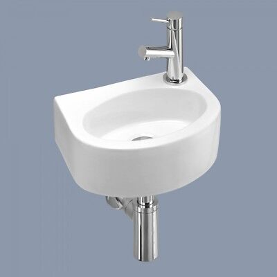 Small Compact Tiny Bathroom Cloakroom Basin Sink Wall Hung Curved with Fixings