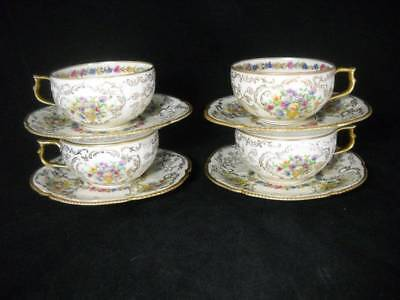 4 Rare Rosenthal Du Barry Cups and Saucers w/ Urns of Flowers & Gold Gilt