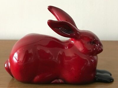 Rare Vintage ROYAL DOULTON Flambe CROUCHING HARE Rabbit Figurine Charles Noke