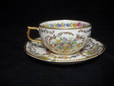 4 Rare Rosenthal Du Barry Demitasse Cups and Saucers Urns of Flowers & Gold Gilt