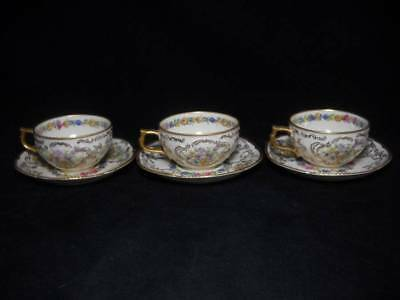3 Rare Rosenthal Du Barry Demitasse Cups and Saucers Urns of Flowers & Gold Gilt