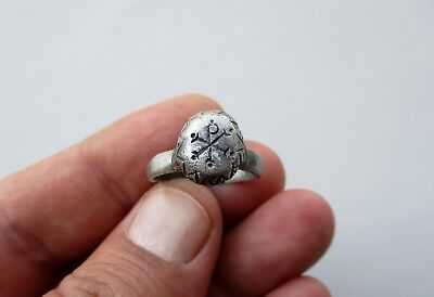 late Roman antiquity silver ring with engraved Chi Rho symbol