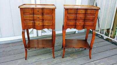 Vintage Pair Cassard Romano French 3 Drawer Tables Nightstands Cassard Chateau