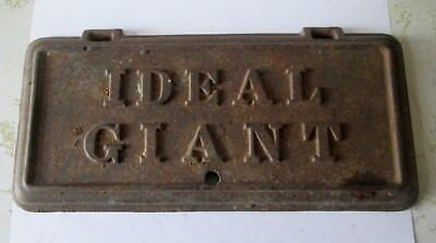Antique Cast Iron Ideal Giant Wood Stove  Door Plate Cover