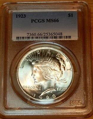 """1923 Peace Dollar PCGS MS 66 """"Bright White Luster"""""""