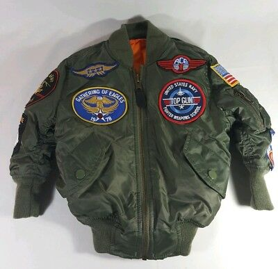 Alpha Industries Kids MA-1 Flight Jacket With Patches Sage Green Size 2T