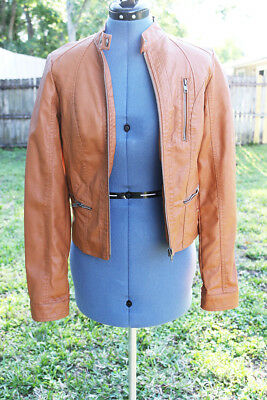Xhilaration Tan Brown Faux Leather Jacket Ruching Waist Cute And