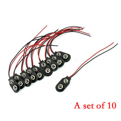 10Pc Snap 9V (9 Volt) Battery Clip Connector Type Black Red Cable Black&Red