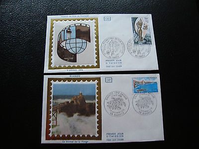 FRANCE - 2 envelopes 1st day 1976 (biarritz/film tourism) (cy79) french