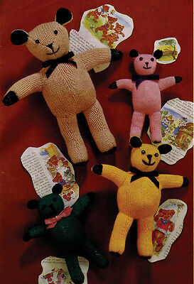 VINTAGE  KNITTING PATTERN COPY - TEDDY BEARS TO KNIT - 4 DIFFERENT SIZES- 1960's