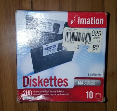 "Imation MAC Formatted 2 HD 1.4 MB 3.5"" Diskettes New Unopened Box  damaged box"