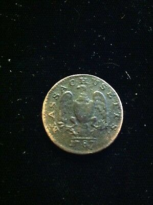 1787 1/2c Half Cent, Massachusetts Colonial Copper Cent, Period After