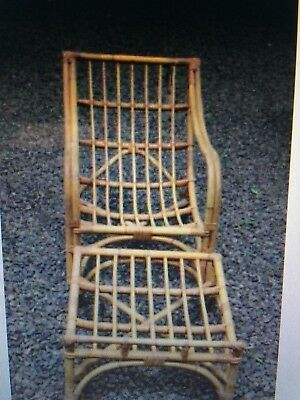 Set of 2 Vintage Palm Beach Rattan Bamboo Lounge chairs & ottomans 1950 Wilhelms