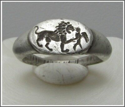 ** LION and VICTORIA **Ancient Silver Legionary Roman Ring **AMAZING **