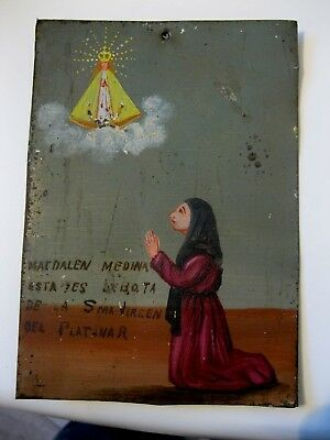 1940's Exvoto On Tin , Woman Praying To Our Lady Del Platanar