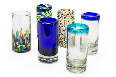 MEXART Artisan Crafted Hand Blown 6 Different Design Collection Recycled Glass