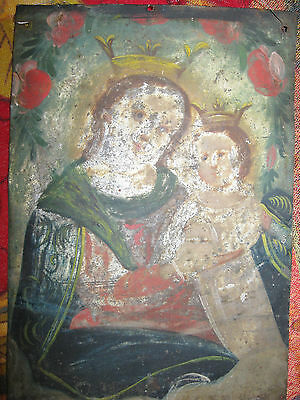 Oriinal Antique Retablo On Tin With  Image  Of Our Lady Of Refuge 7'' By 10''