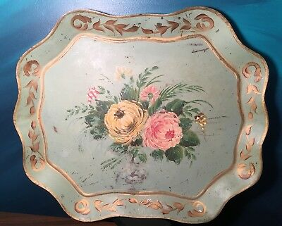 Vintage Patina Chippendale Hand Painted Tole Flower Metal Tray Large Green Gold