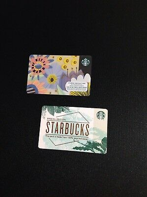STARBUCKS SPRING & SPECIAL EDITION ( recycled paper ) GIFT CARD -- 2 PCS. - NEW