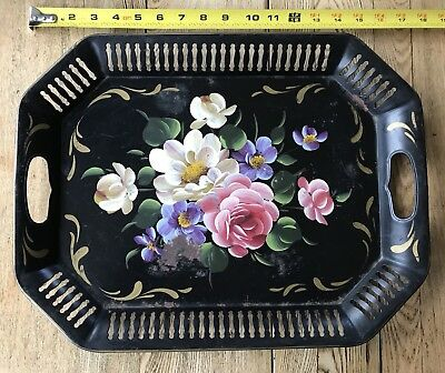 Vintage Pilgrim Art Hand-Painted Toleware Tray Cream Pink Purple Peonies