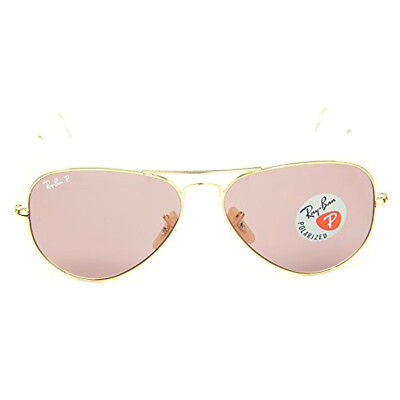RAY-BAN  Aviator RB3025 001/15 58-14 Larger Metal Gold Frame Pink Lens Polarized