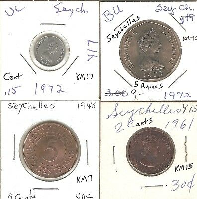 Seychelles 4 different types 1948-1972