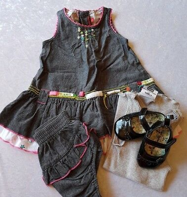 Catimini. Cute Girls Dress & Bloomers + Shoes.Size 0-1 or 6-12 months. Mixed lot
