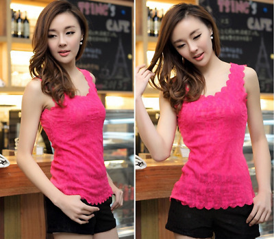 Womens Floral Lace Wave Vest Tank Top Ladies Stunning T-shirt Blouse Hot Pink