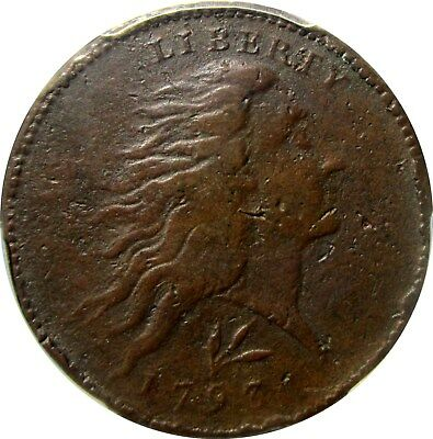 1793 Flowing Hair Large Cent      +++ Certified Pcgs Vf +++       Detail