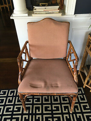 Vtg Mid Century/ Hollywood Regency Bamboo Chinese Chippendale Chairs Chinoiserie
