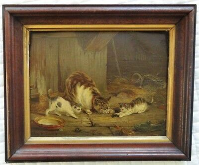 Antique Lithograph CATS (Original Frame) - by Leopold de Cauwer c. 1880