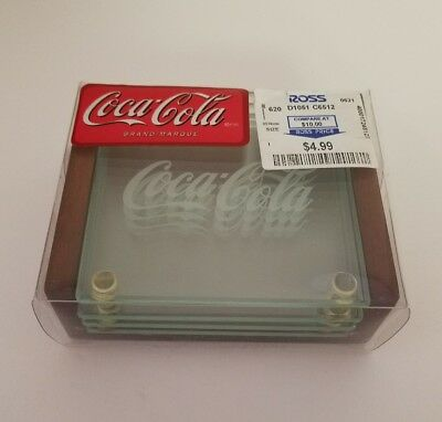 NEW Set x 4 Green Tint Coca-Cola Frosted Script Tempered Glass Coasters E2