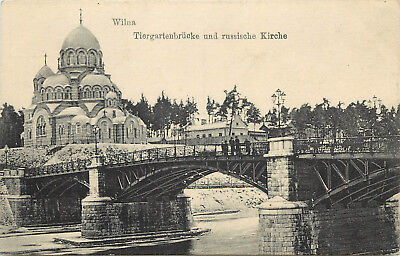 Vintage Postcard Vilnius Wilna Lithuania TierGartenbrucke and Russian Church