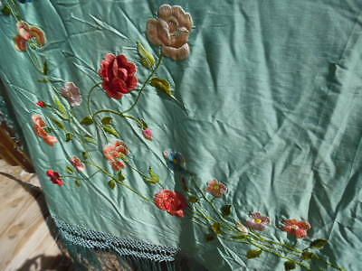 Antique silk Embroidered Piano scarf turquoise 87 x 87 Big long Fringe Lovely