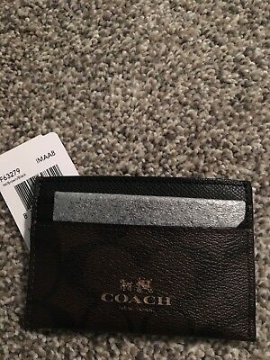 COACH Card Case Brown and Black 100% Authentic 63279 FREE SHIPPING