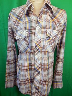 Vintage 70s Blue Brown Green Soft Poly/Cotton Western Cowboy Shirt Pearl Snaps M