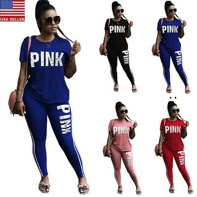 Women Short Sleeve 2 PCS Top+Pants Jumpsuit Ladies Summer Casual Tracksuit New