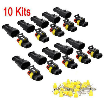 10set Kit 2 Pin Way Super seal Waterproof Electrical Wire Connector Plug for Car