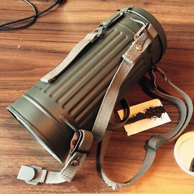WW2 German Box Military Army Gas Mask Canister Container And Strap