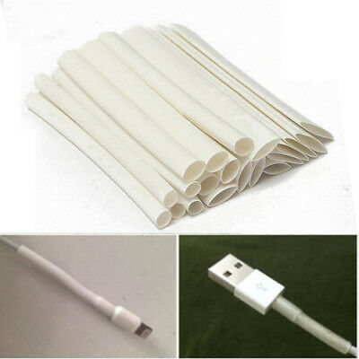 20x White 3/4:1 Heat Shrink Tube Wire For iPhone/Android/Samsung Data Cable