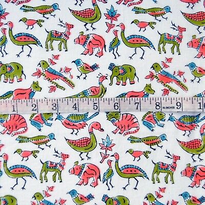 10 Yard block printed natural Indian cotton home decorative fabric