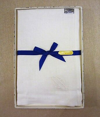 Three Vintage Irish Linen Hankerchiefs In The Original Box - New Old Stock