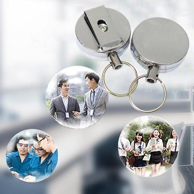Metall ID Card Badge Keychain Retractable Reel Halter Clip Angeln Sicherheit