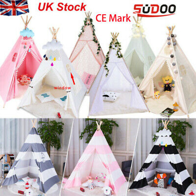 Large Kids Teepee Tent Wooden Playhouse Black Pink Grey White Gift for Boy Girl